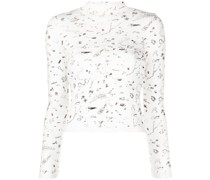illustrated-print cropped top