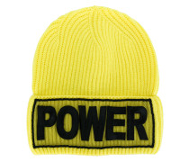 Power embroidered beanie hat