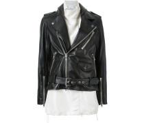 contrasting gilet biker jacket