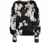 Intarsien-Pullover mit Blumen