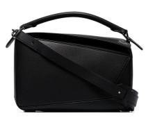 black puzzle leather shoulder bag