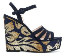 brocade wedge sandals