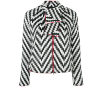 zig zag print jacket with neck tie