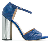 metallic block heel sandals