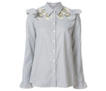 Bestickte Bluse mit Rüschen