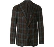 wide lapel checked blazer