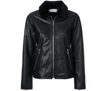 textured collar zipped jacket