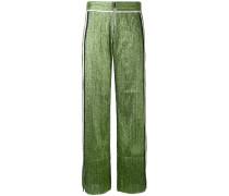 side-stripe lurex trousers - women