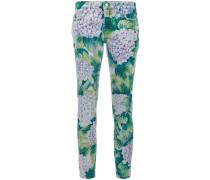 hydrangea print skinny jeans