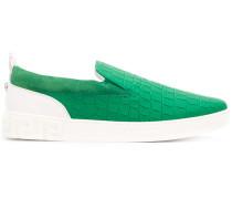 crocodile embossed slip-on sneakers
