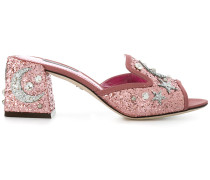 star and moon embellished mules