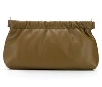 gathered clasp leather clutch