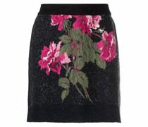 intarsia-roses knitted mini skirt