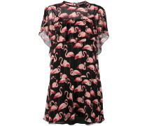 Seidenkleid mit Flamingo-Print - women