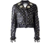 mirror embellished biker jacket