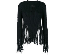 distressed ribbed jumper
