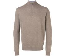 Melierter Pullover mit Reißverschluss