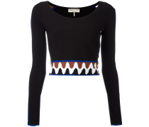 Cropped-Pullover mit Wellenmuster