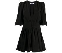 Gerafftes Kleid mit V-Ausschnitt