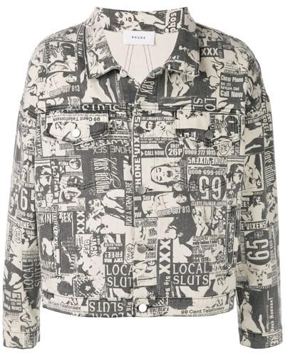 Jeansjacke mit Zeichnungs-Print