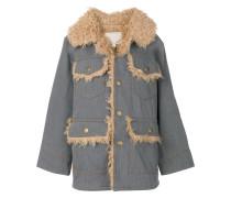 oversized denim patch pocket coat