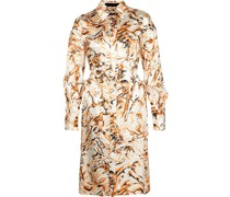 Printed Figures Satin Cut Out Dress