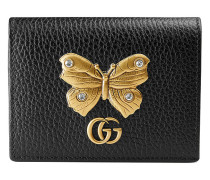 Leather card case with butterfly