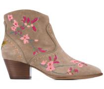 Stiefeletten mit floraler Stickerei - women