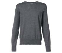 Relaxed Crewneck Pullover In Medium Grey Mercerized Merino