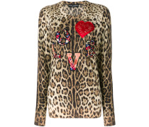 love applique leopard print jumper