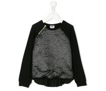 pleated back metallic blouse
