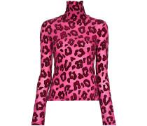 Rollkragenoberteil mit Leoparden-Print
