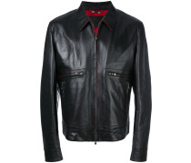 leather jacket with contrast lining