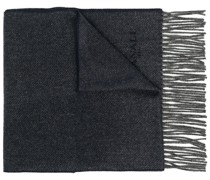 contrast-trimmed knitted scarf