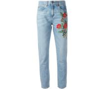 Jeans mit Blumenstickerei - women - Baumwolle