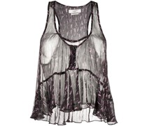 Sheer-Bluse mit Print