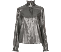frilled neck metallic blouse