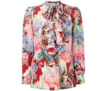 Hydrangea print ruffled blouse