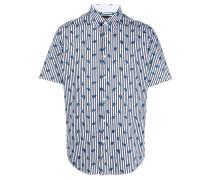 Gestreiftes Hemd mit Feder-Print