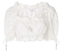 cropped broderie anglaise blouse