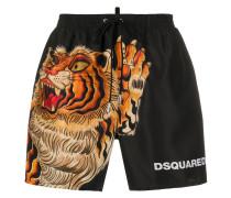 Badeshorts mit Tiger-Print