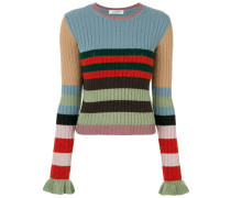 ribbed sweater with ruffled cuffs