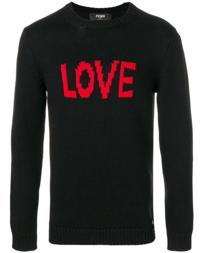 'Love' Intarsien-Wollpullover
