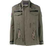 Military-Jacke mit Perlen-Patches