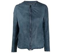 zip-fastening collarless jacket