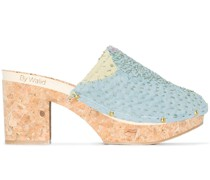patchwork studded 50mm clogs