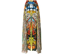 butterfly print long skirt