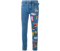 Cropped-Jeans mit Patches - women - Baumwolle