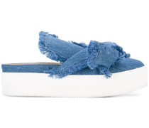 Jeans-Mules mit Knotendetail