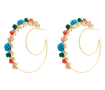 Gold Pillar Double Hoop Earrings